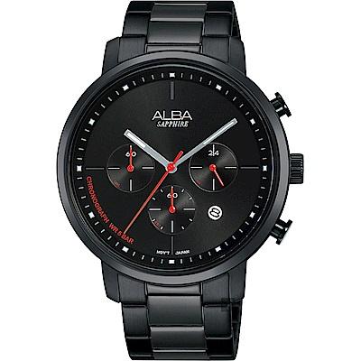 ALBA雅柏 Tokyo Design 原創計時手錶(AT3E01X1)-鍍黑/42mm