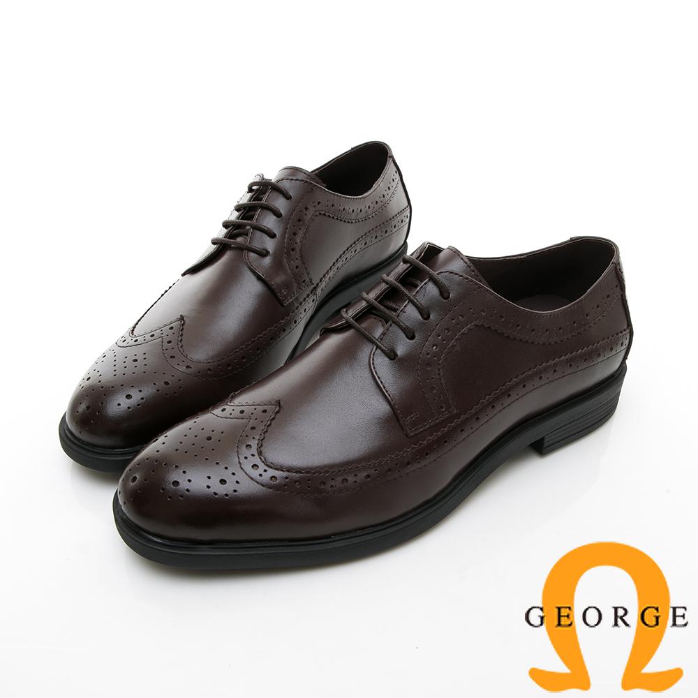 【GEORGE 喬治皮鞋】尊爵系列 漸層雕花綁楦頭紳士皮鞋-咖啡色