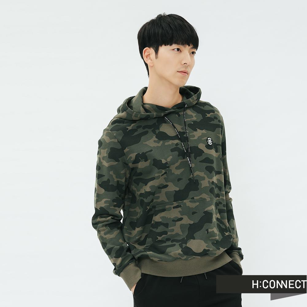 H:CONNECT 韓國品牌 男裝-迷彩抽繩帽T-綠