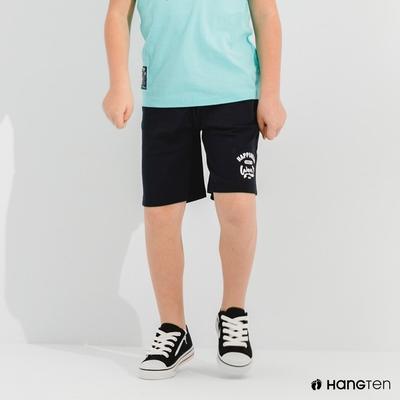Hang Ten-男童-REGULAR FIT有機棉鬆緊休閒短褲-深藍色