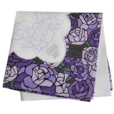 ANNA SUI 繽紛玫瑰花圖騰字母LOGO帕領巾(紫色邊)