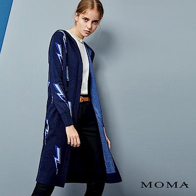 MOMA 閃電連帽針織長外套