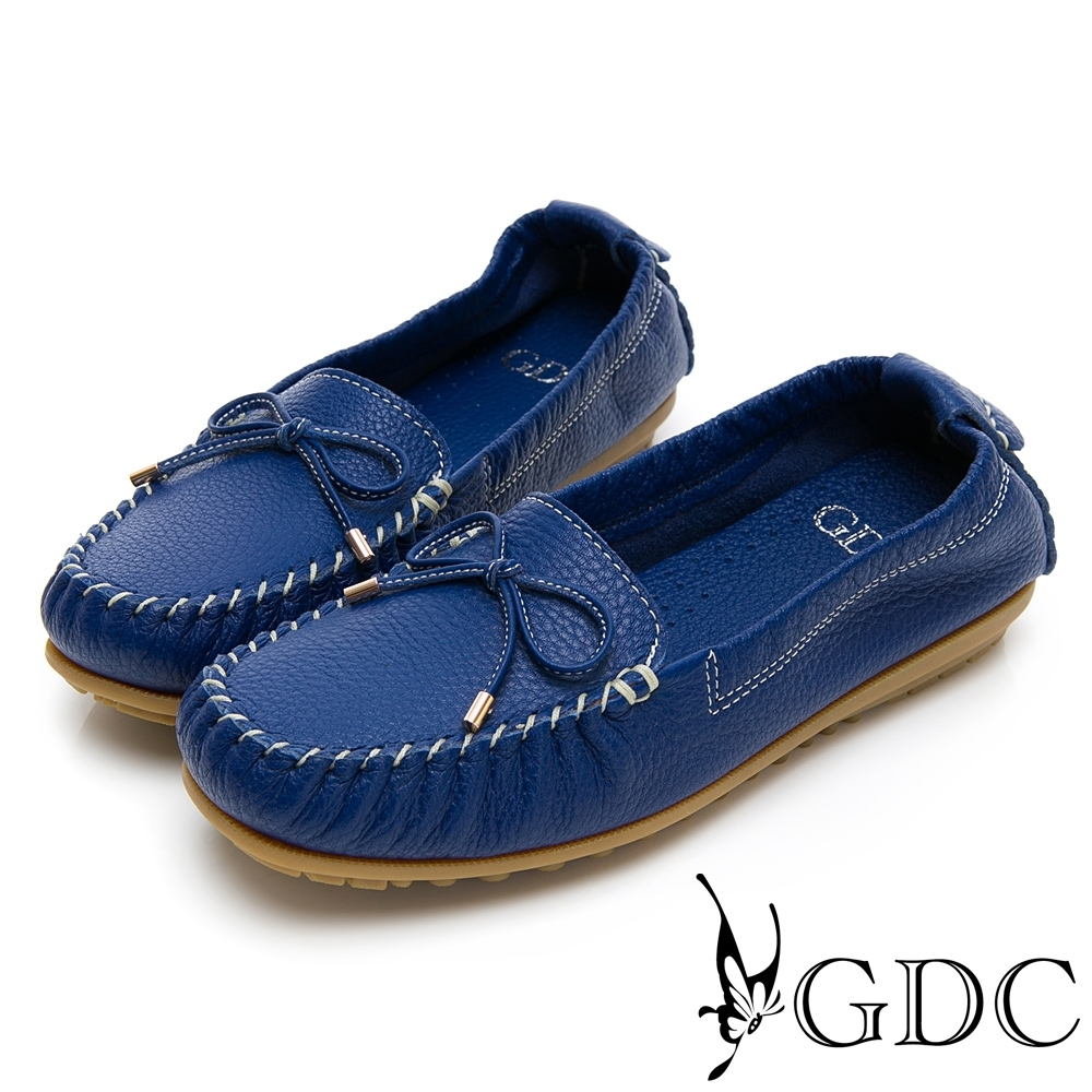 GDC-真皮舒適素色基本蝴蝶結綁帶休閒鞋-藍色