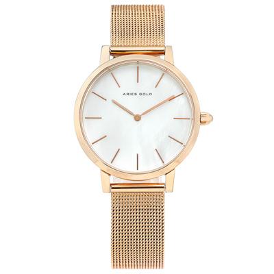 ARIES GOLD 簡約 珍珠母貝 米蘭編織不鏽鋼手錶-銀白x鍍玫瑰金/32mm