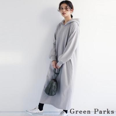 Green Parks 溫暖刷毛連帽後開叉洋裝