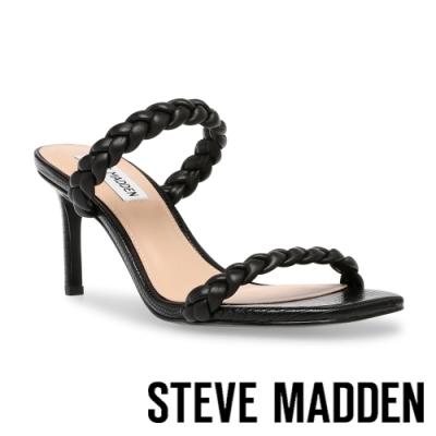 STEVE MADDEN-ZAYNA 編織雙帶方頭細跟拖鞋-黑色