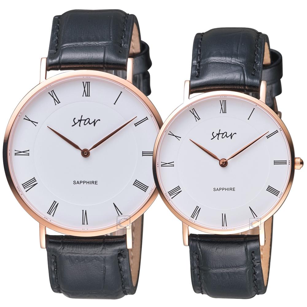 STAR 時代羅馬極簡時尚對錶-黑皮
