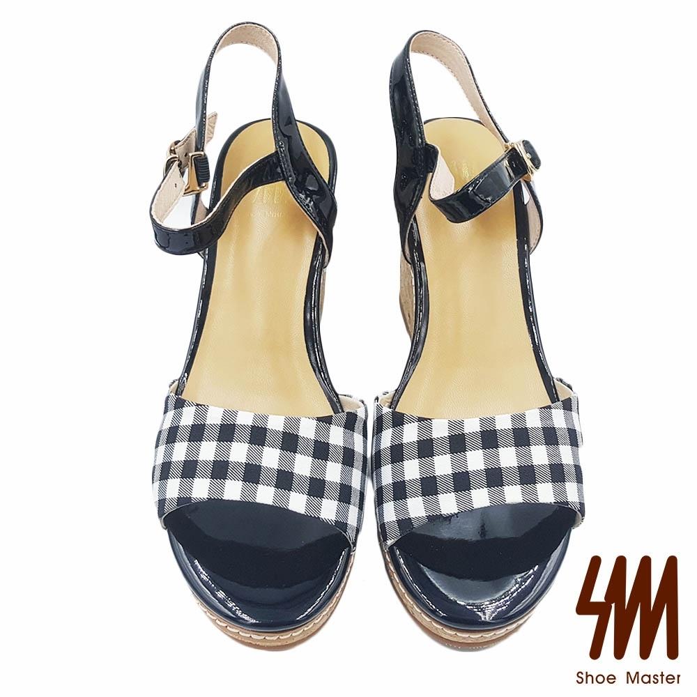 【SM】圓頭格子布紋後勾高跟楔型涼鞋