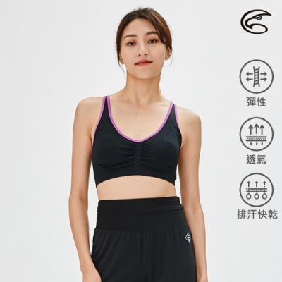 ADISI 可調肩帶無縫運動胸衣AU2191009 黑/紫羅蘭