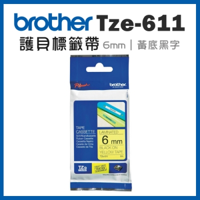 Brother TZe-611 護貝標籤帶 (6mm黃底黑字)