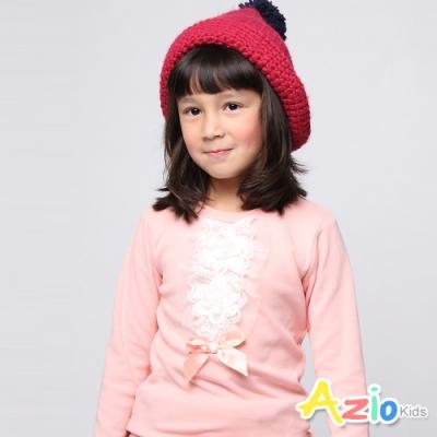 Azio Kids 女童 上衣 蕾絲花朵造型蝴蝶結袖長袖上衣(粉)