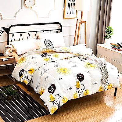 A-one - 可水洗-單人床包/雙人羽絲絨被三件組_陽光柳橙