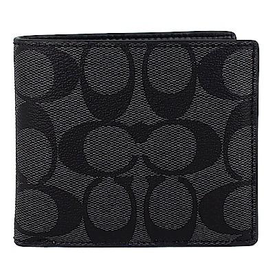 COACH 灰黑色LOGO皮飾邊防水材質短夾(8卡)