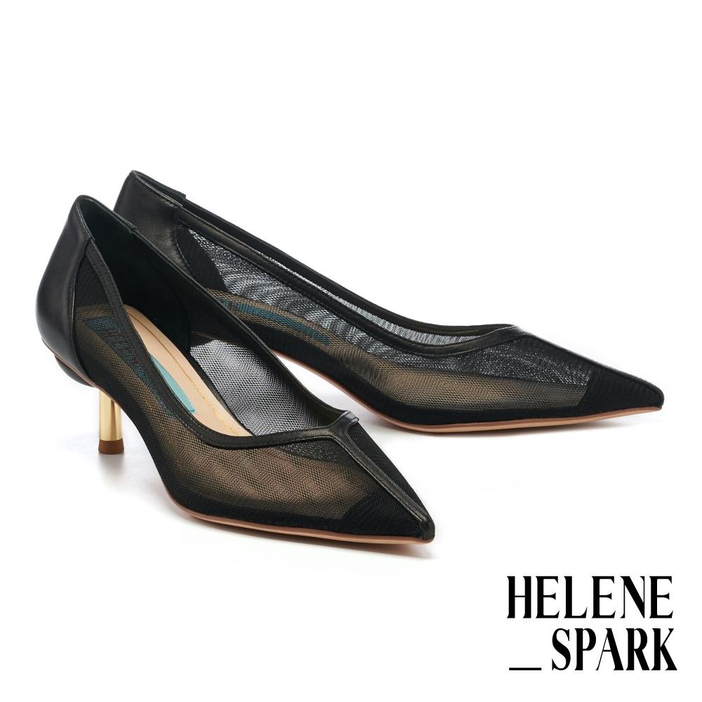 高跟鞋 HELENE SPARK 輕奢迷人透膚網紗尖頭高跟鞋-黑