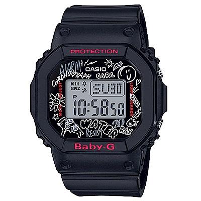 Baby-G 卡西歐 滑板塗鴉時尚女錶(BGD-560SK-1)-黑/40mm