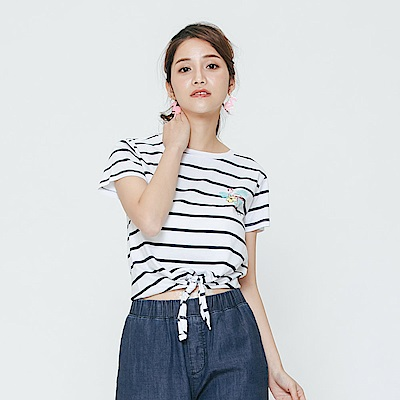 Hang Ten - 女裝 - 有機棉 綁帶渡假風條紋T恤-白色