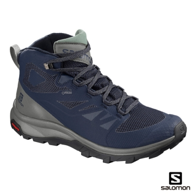 Salomon 男 GORETEX 中筒登山鞋 OUTline 古藍
