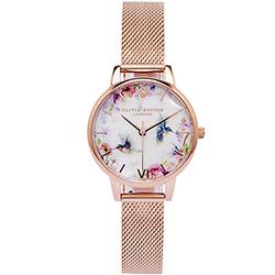 OLIVIA BURTON 鳥語花香風米蘭帶手錶(OB16PP49)-珍珠貝面/30mm
