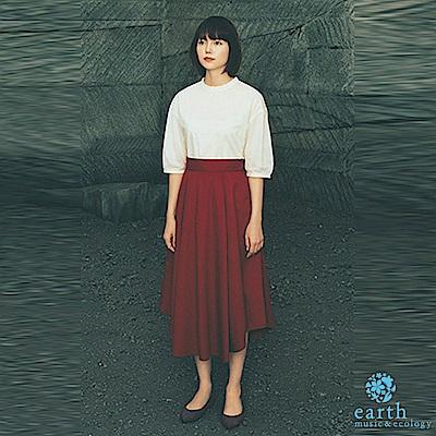 earth music  宮崎葵著用款-荷葉邊領口純棉上衣+基本款素面長裙