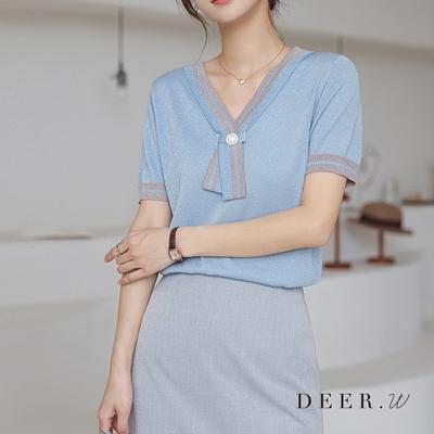 DEER.W 珍珠領結涼感金絲針織上衣(三色)