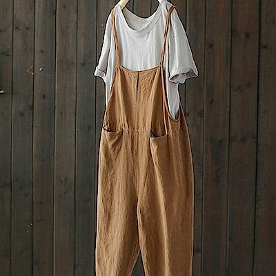 寬鬆亞麻背帶褲棉麻連身九分褲-設計所在
