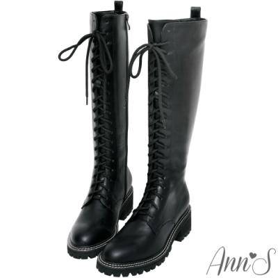 Ann'S辣Girl-全綁帶側拉鍊及膝軍靴