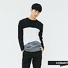 H:CONNECT 韓國品牌 男裝-拼接撞色細針織上衣-藍