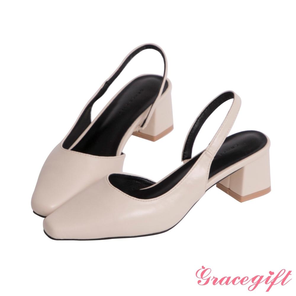 Grace gift-微尖頭側空中跟鞋 米白