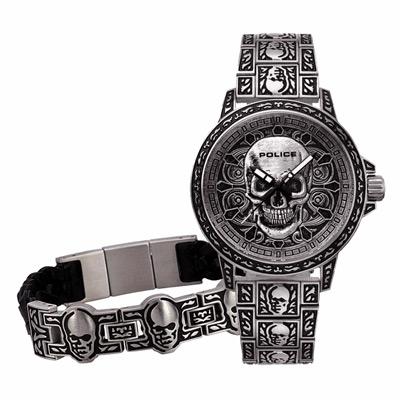 POLICE 搖滾硬漢骷髏造型腕錶-銀(15530SKS-SET1)-45mm