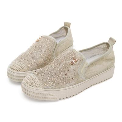 PLAYBOY 時髦風尚水鑽蕾絲休閒鞋-杏-Y5750
