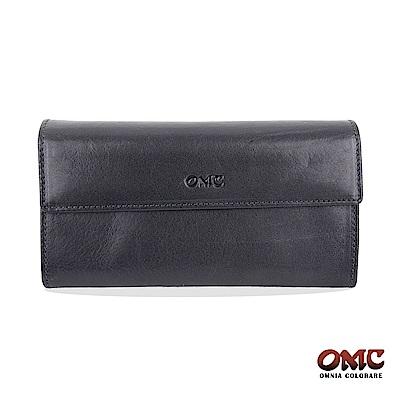 OMC 原皮系列-植鞣牛皮翻蓋壓扣多隔層零錢長夾-藍色