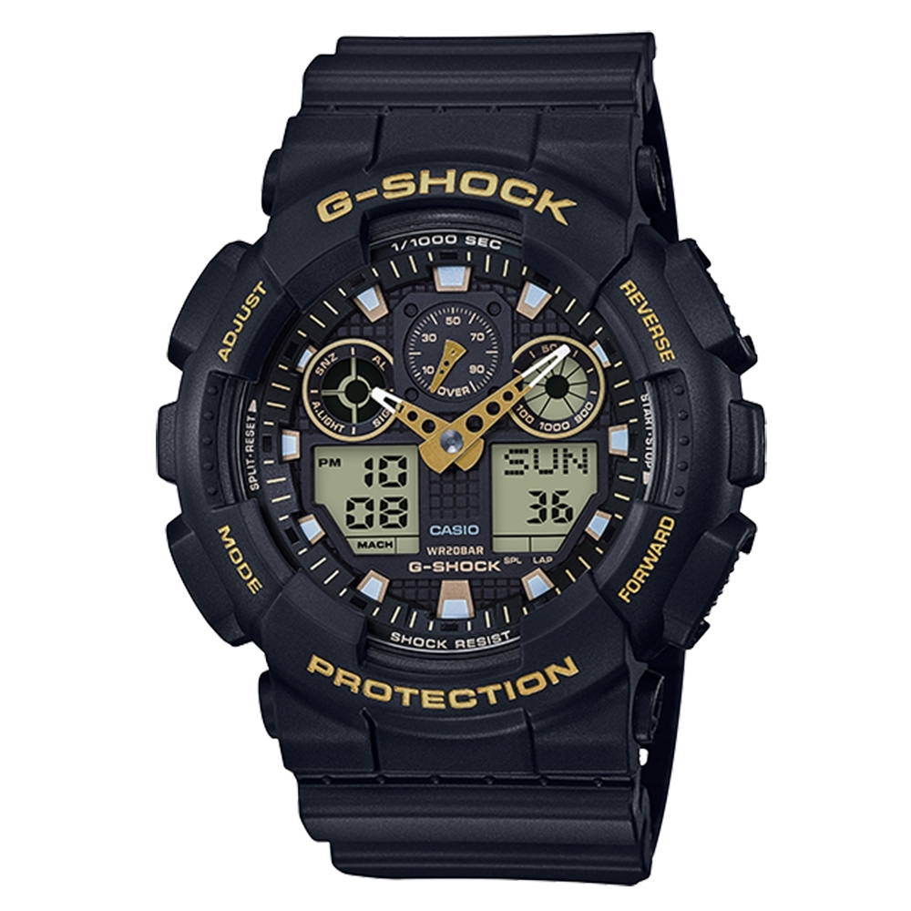 CASIO卡西歐G-SHOCK雙顯腕錶-黑黃(GA-100GBX-1A9)