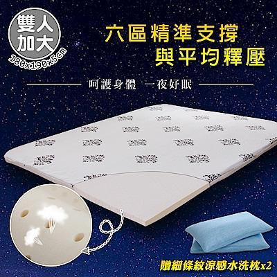 【格藍傢飾】100%頂級天然乳膠防蹣抗菌5cm床墊&細條紋涼感水洗枕(雙人加大)