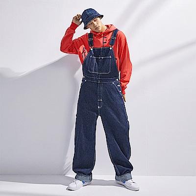 Levis Red 工裝手稿風復刻再造 男款 復古寬鬆版牛仔吊帶工作褲 原色 寒麻纖維