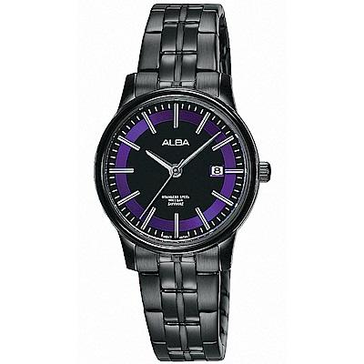 ALBA 炫紫光圈藍寶石水晶時尚女錶(AH7N69X1)-黑/28mm