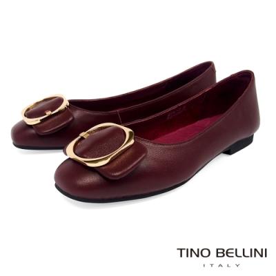 Tino Bellini大方金釦全真皮平底娃娃鞋_酒紅