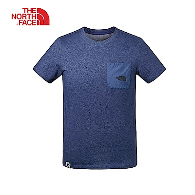 The North Face北面男款藍色吸濕排汗短袖T恤|3V3THKW