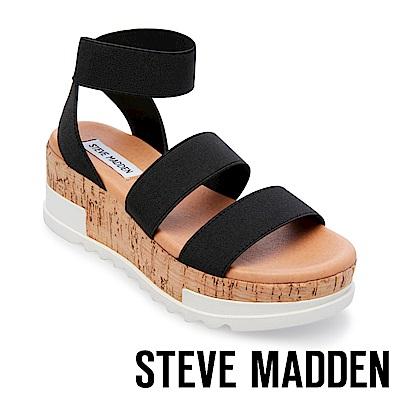 STEVE MADDEN-BANDI 彈性繫帶軟木厚底涼鞋-黑色