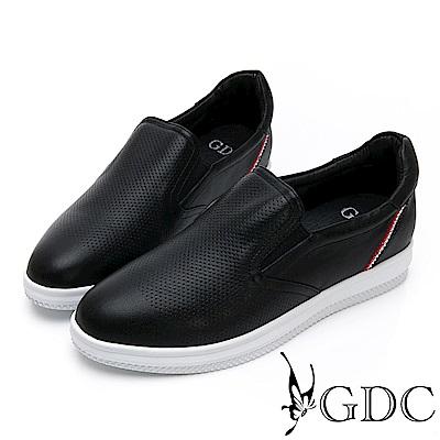 GDC-真皮素面基本簡約水鑽舒適休閒鞋-黑色