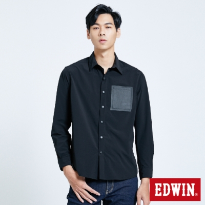 EDWIN EFS異材質剪接 長袖襯衫-男-黑色