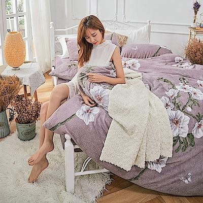 戀家小舖 / 法蘭絨  雙人加大床包兩用毯組  深宮秘境  保暖抗寒