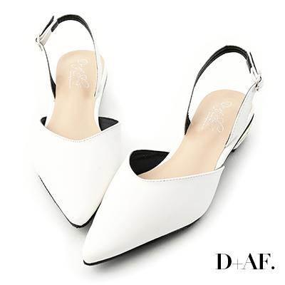 D AF 雅緻迷人.金屬鞋跟後空低跟鞋*白