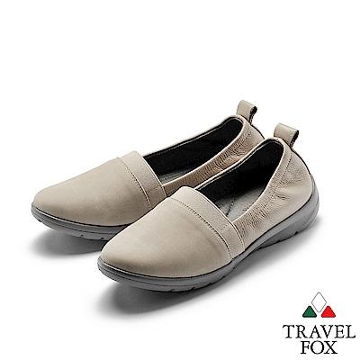 TRAVEL FOX(女) 我型我素 時尚三角雙料舒適減壓休閒鞋 - 珠白灰