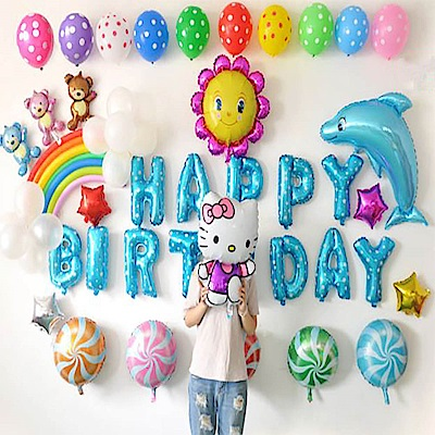 WIDE VIEW 彩虹生日派對氣球套餐-藍色(BL-02)