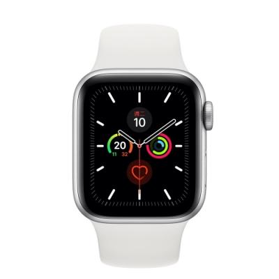 [無卡分期-12期]Apple Watch S5(GPS) 40mm銀色鋁金屬錶殼+白色運動錶帶