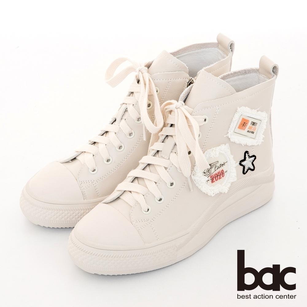 【bac】休閒享樂布標俏皮高筒綁帶休閒鞋-米白