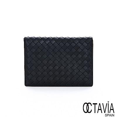 OCTAVIA8 真皮 - NEW德瑞克編織 小羊皮中性護照二用短夾 - 遠方黑