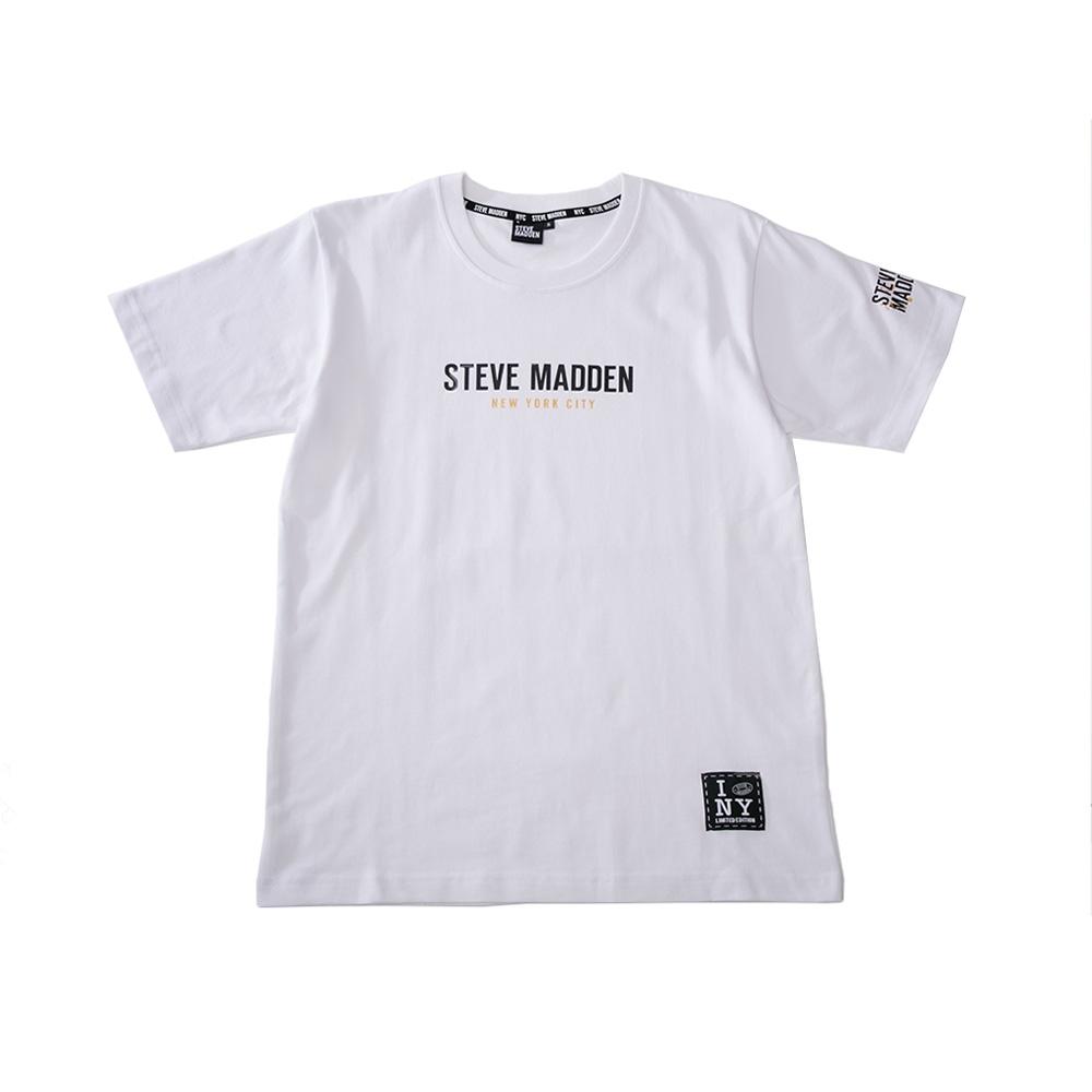 STEVE MADDEN-純棉品牌經典LOGO T-Shirt 短袖上衣-白色