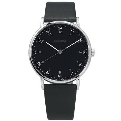 ISSEY MIYAKE 三宅一生 F系列 數字時標日本製造真皮手錶-黑x深灰/39mm
