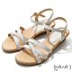 DIANA 3.5cm 質感牛皮編織線條交織楔型涼鞋-牛奶糖 product thumbnail 1